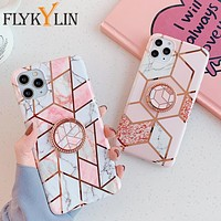FLYKYLIN Ring Holder Marble Case For Samsung A50 A51 A40 A50 A70 A41 A71 Note 8 9 10 20 Plus S8 S9 S10 S20 S20 Ultra Soft Cover