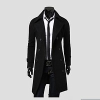 2017 New Arrival Autumn Trench Coat Men Brand Clothing Fashion Mens Long Coat Top Quality Cotton Male Overcoat M-3XL