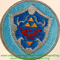 """Legend of Zelda Inspired 2.25"""" Hyrulian Shield Fully Embroidered Patch With Fully Wrapped Overlocked Edges Sew/Iron On or Velcro LoZ"""