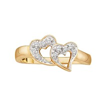 10kt Yellow Gold Womens Round Diamond Double Heart Love Ring 1/12 Cttw