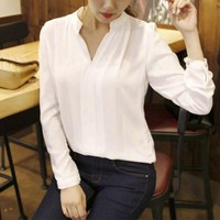 2017 Summer Women Chiffon Blouse Ladies White Elegant OL Shirts Female Office Shirt