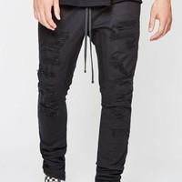 LMFON PacSun Drop Skinny Stitch & Repair Jogger Pants