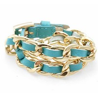 Links and Leather Wrap Bracelet in Assorted Colors