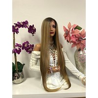 """Blond Balayage Hair with Dark Brown Roots 