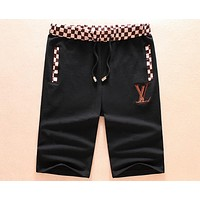 LV Louis Vuitton Summer Long Rock City Embroidered Letter Joker Shorts F-A00FS-GJ black