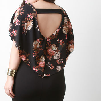 Tiered Floral Chiffon Open Back Bodycon Dress
