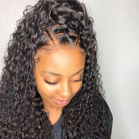 Curly 360 Lace Frontal Wig Human Hair Wigs Pre Plucked Brazilian Remy Hair Bleached Knots 360 Full lace For Natural Black 150%
