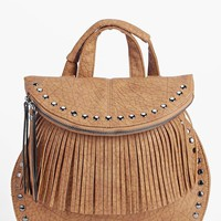 Ruby Stud And Fringed Rucksack