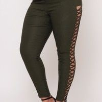 Plus Size Side Panel Criss Cross Cut Out Jean - Olive