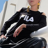 FILA Women Fashion Casual Scoop Neck Off Shoulder Top Sweater Pullover