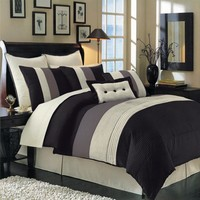 Black Hudson Luxury 12-Piece Bedding Set