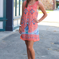 Caribbean Cruise Printed Dress {Orange}
