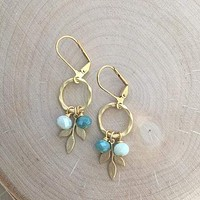 Gold Ring and Branch Cluster Earrings