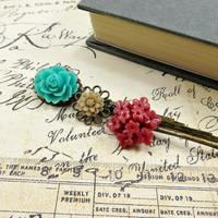 Flower Bobby Pins, Romantic Hair Accessories, Red Turquoise and Beige Hair Pin Set by Flower Couture