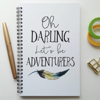 Writing journal, spiral notebook, bullet journal, black and white, sketchbook, blank lined grid, travel - Oh darling lets be adventurers