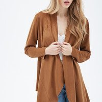 Collarless Faux Suede Jacket
