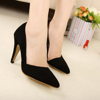 Womens Business Stiletto Pointed Toe High Heels Side Empty Shoes Office Lady 1n6