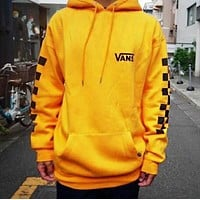"""VANS"" New Trending Stylish Print Checkerboard Long Sleeve Hooded Velvet Sweater Top Sweatshirt Yellow"
