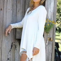 The Brentwood Off White Scoop Neck Long Sleeve Asymmetrical Hem Top