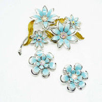 Blue Flower Brooch & Earrings Set - Designer Signed Enamel Coro Flowers - Vintage Rhinestone Floral Design