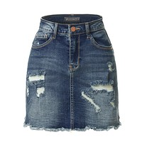 Vintage Ripped Frayed Denim Skirt (CLEARANCE)