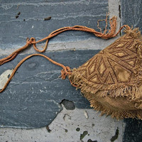Brown Pouch and Side Bag made of Vegetable dyed hemp and LInen Earthy Natural Eco- friendly Pixie
