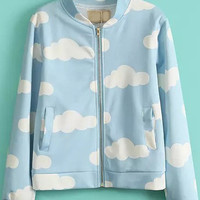 Blue Stand Collar Long Sleeve Clouds Print Jacket - Sheinside.com