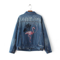 Week nine -70-0948 and the wind of autumn fashion embroidery Lapel loose denim jacket coat