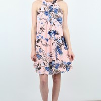 Blue Garden Florals High Neck Dress {Blush}