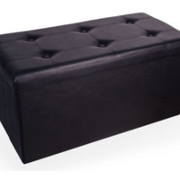 Foldable Storage Ottoman Bench Stylish Living Room Furniture Black Faux Leather