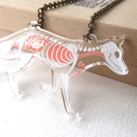 PRE-ORDER: Skeleton X-Ray Fox on Clear Acrylic Necklace - ships mid-September