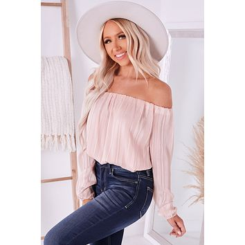 Touch Of Allure Sparkly Off The Shoulder Top (Blush)