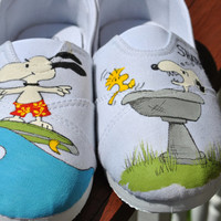 Funny Snoopy and Woodstock Hand painted sneakers size 8
