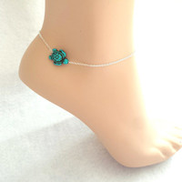 Turtle, Anklet, Ankle, Jewelry, Turtle, Jewelry, Turquoise, Animal, Green, Anklet, Anklet, Silver, Chain, Gift, Birthday