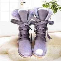 UGG hot sale high tube straps couple snow Shoes boots