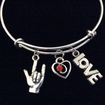 American Sign Language Charm (ASL) Red Crystal Heart and Love Charm on Expandable Adjustable Wire Bangle Bracelet  Appreciation Gift