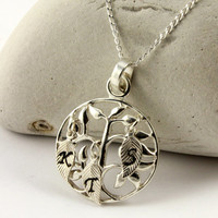 Family Tree Necklace with Initial Leaves - Silver Personalized Necklace - Tree of Live Pendant - Textured Leaf Charms - Christmas Gift