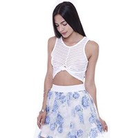 C6847NEW White Stripped Sleeveless Crop Top With Knot Junior's Clothing