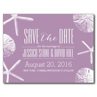 Classy Violet Starfish & Sand Dollar Save the Date