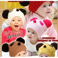 Trendy Panda Shaped Lovely Winter Baby Hats Knitted Caps Children Warm Hats = 1695510852