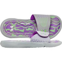Under Armour Women's Ignite Slide - Grey/Green/Purple | DICK'S Sporting Goods