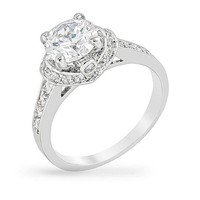Kate 4.1ct CZ White Gold Rhodium Engagement Ring