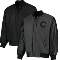 Men's JH Design Heathered Charcoal Chicago Cubs MLB Reversible Wool Jacket