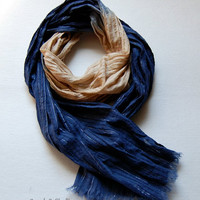 Ravenclaw Inspired Dip Dyed Lightweight Scarf, Harry Potter Hogwarts House Inspired Scarf, Blue Spring Summer Scarf