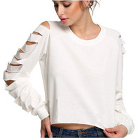 Fashion Strapless Long Sleeve Ripped Scoop Neck T-Shrit