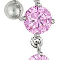14g Sexy Reverse Mount Dangle Belly Button Ring with Cascade of Pink Crystal Gems