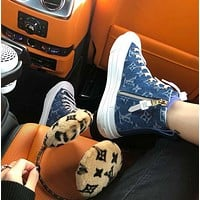 LV Shoes Louis Vuitton STELLAR Sports Boots Cowboy  Canvas High tops  Blue