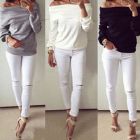 Off Shoulder Slouch Sweater