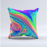 Neon Color Fusion V9  Ink-Fuzed Decorative Throw Pillow