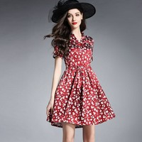 Women Dress Floral Print Work Business Casual Party Vestidos Free Shipping Long Maxi Dresses 164